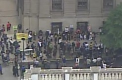 Caesar Goodson verdict crowd via WJZ