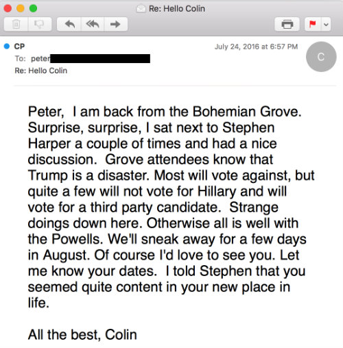 colin powell bohemian grove email