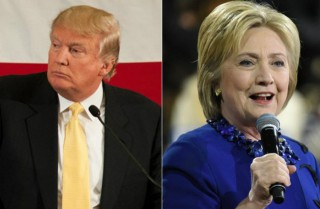 Donald Trump via Andrew Cline and Shutterstock, Hillary Clinton via a katz and Shutterstock