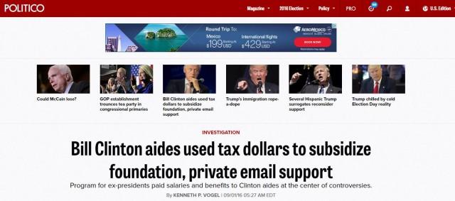 Politico bill clinton headline3