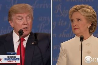 Image of Donald Trump and Hillary Clinton via CBS screengrab