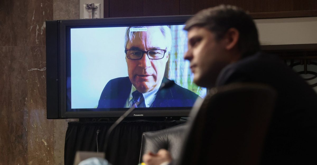 US Senator Sheldon Whitehouse (D-RI) questions Judge Justin Walker remotely by video link because of the outbreak of coronavirus disease (COVID-19) during Walker's Senate Judiciary Committee confirmation hearing on his nomination to be a US Circuit Court judge for the District of Columbia Circuit on Capitol Hill in Washington, DC, May 6, 2020.