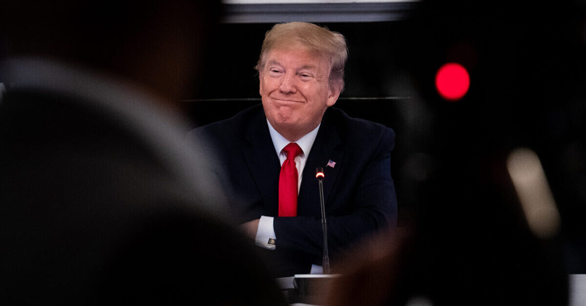 WASHINGTON, DC - MAY 29: U.S. President Donald Trump speaks during a meeting with industry executives on the reopening of the U.S. economy in the State Dining Room May 29, 2020 in Washington, DC. Trump also answered questions on developments in Minneapolis following the death of George Floyd.