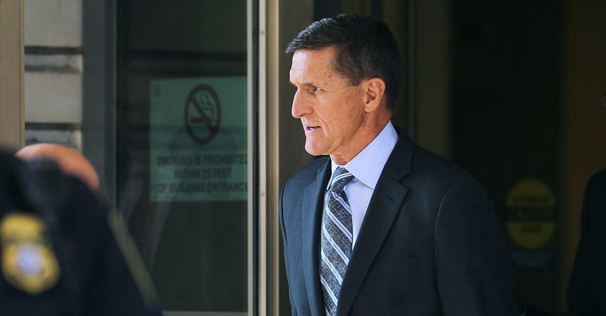 WASHINGTON, DC - DECEMBER 01: Michael Flynn, former national security advisor to President Donald Trump, leaves following his plea hearing at the Prettyman Federal Courthouse December 1, 2017 in Washington, DC. Special Counsel Robert Mueller charged Flynn with one count of making a false statement to the FBI.