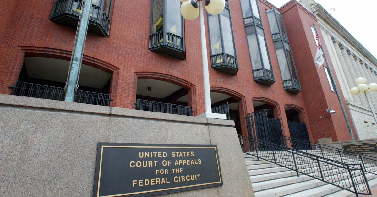 This photo shows an exterior view of the United States Court of Appeals for the Federal Circuit building taken 29 March 2002 in Washington, D.C.