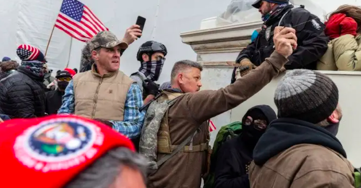 Christopher Worrell pepper sprayingn police officers during Jan. 6 Capitol Riot