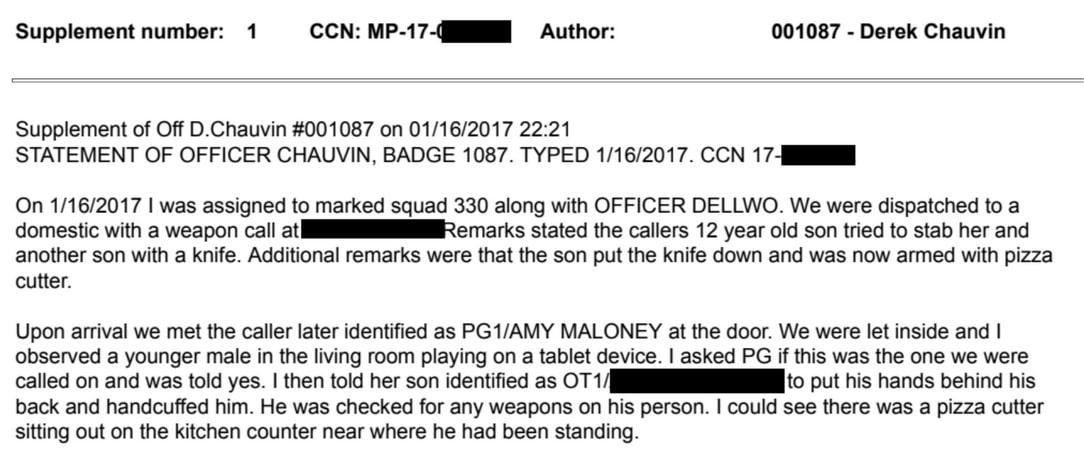Derek Chauvin redacted report