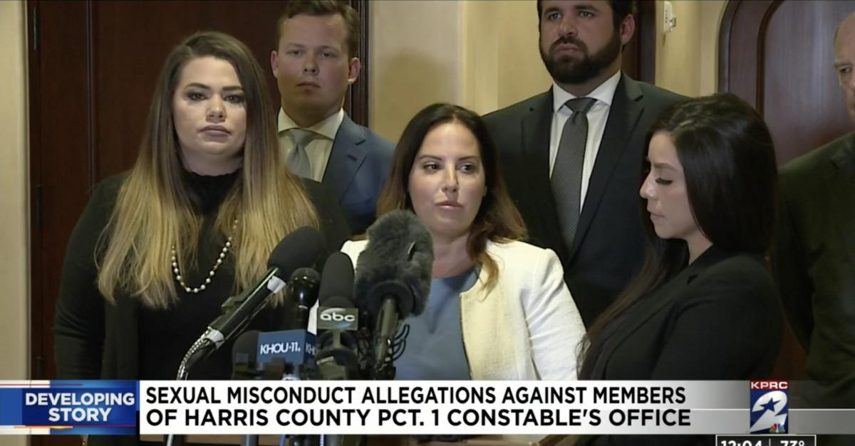 Press conference announcing sexual misconduct lawsuit against Houston law enforcement