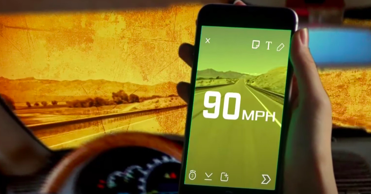 screenshot of driver going 90 mph as shown through snapchat speed filter.