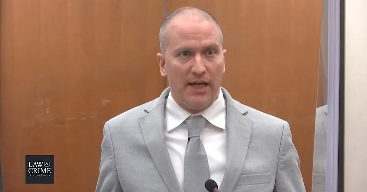 Derek Chauvin at his sentencing hearing.