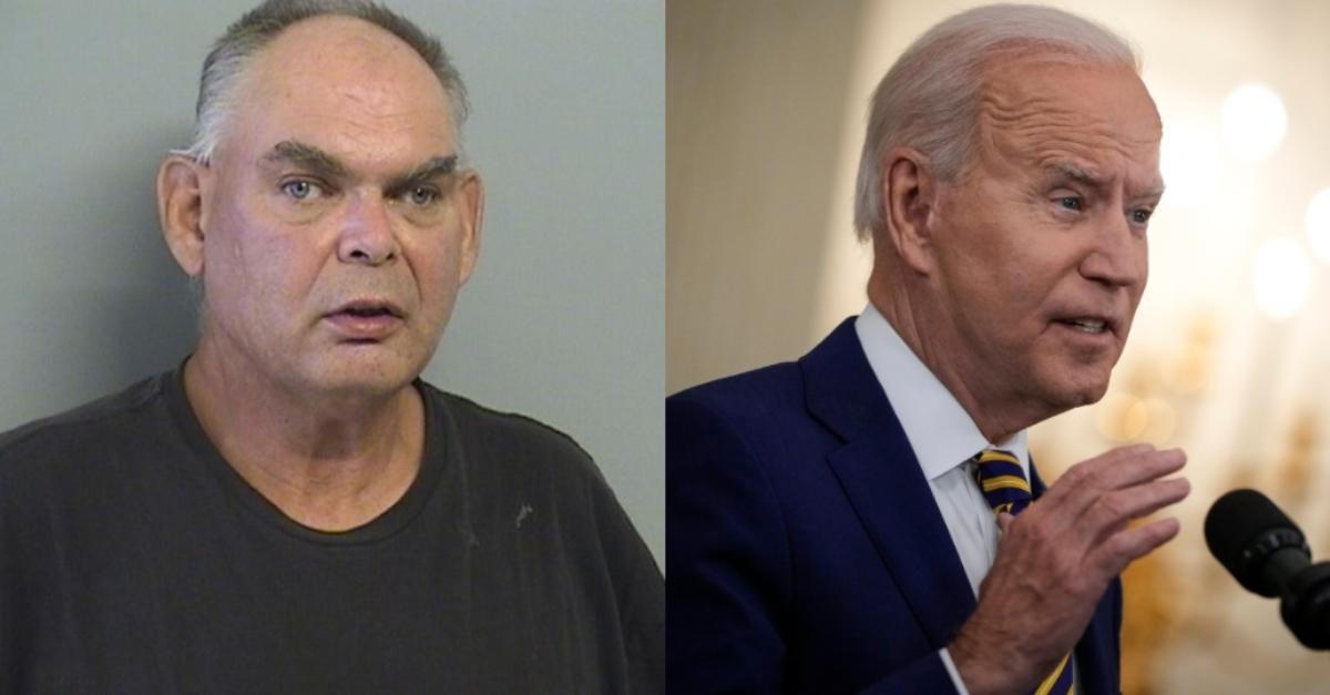 Mugshot of John Jacobs Ahrens; image of President Joe Biden