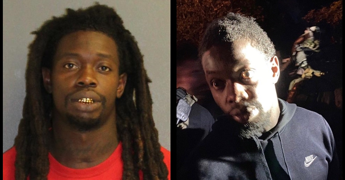 Othal Wallace appears in a mugshot (left) and in an image taken at the time of his capture in Georgia (right) in connection with the killing for Officer Jason Raynor.