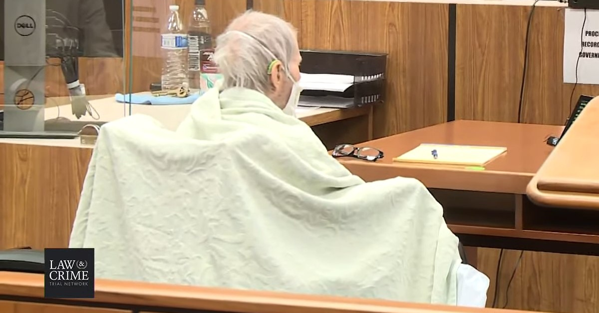 Robert Durst in court, wrapped in a blanket.