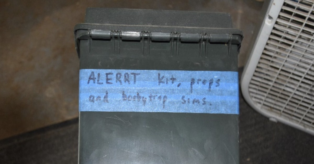 """The FBI says that it found this box marked """"Booby Trap"""" when searching Robertson's property."""