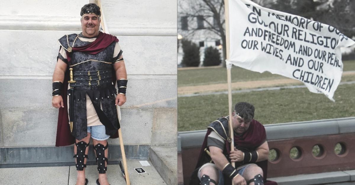 Captain Moroni strikes two poses in D.C.