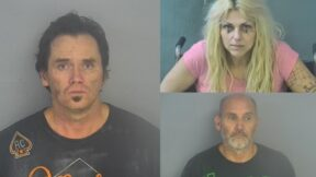 Mugshots showing Freddie Tilton (left), Carla Jo Ward (top right), and Lawrence Vaughan in Greene County Jail
