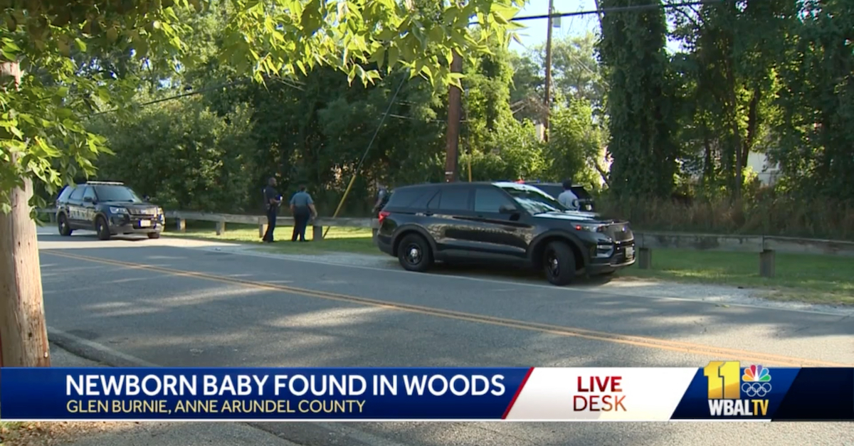 A picture shows police activity at the scene where a mother abandoned a newborn baby in a wooded area off a bike path near an intersection of two residential streets.