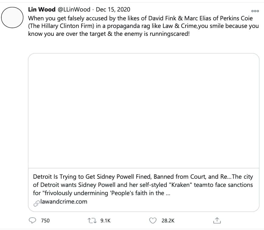 """Lin Wood's """"over the target"""" tweet"""