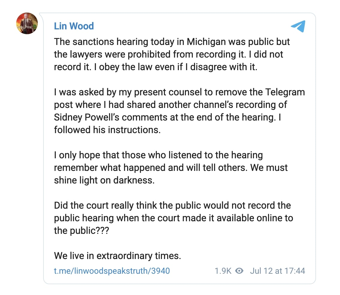 Wood Telegram July 12
