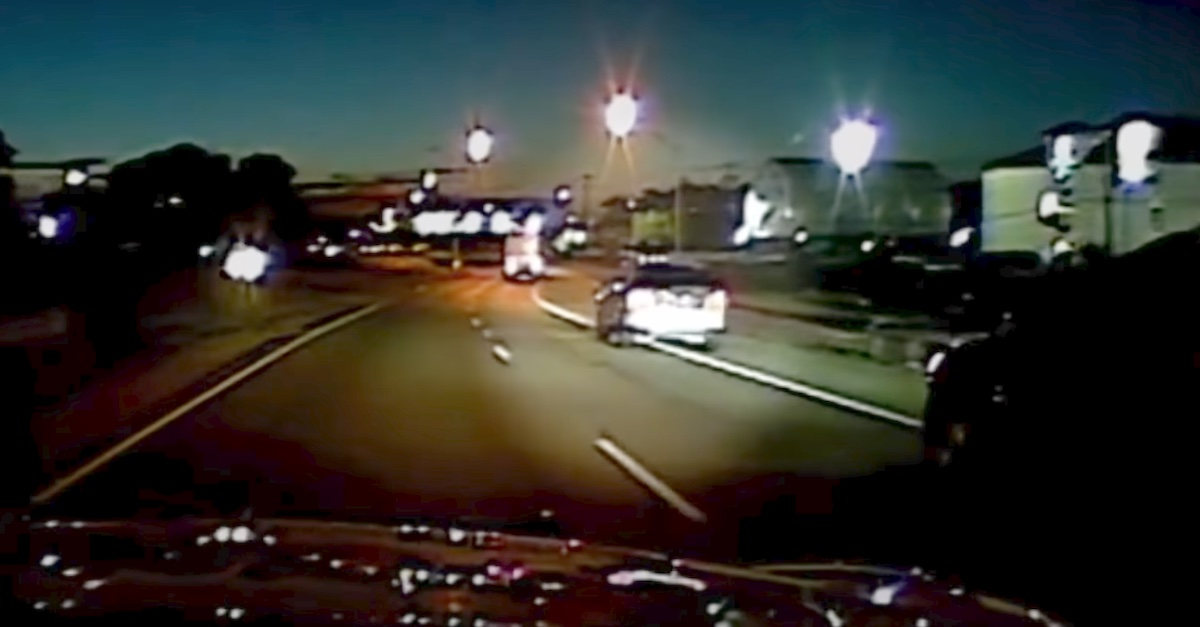 Dash cam video shows Angela West's car drifting across a solid line several times.