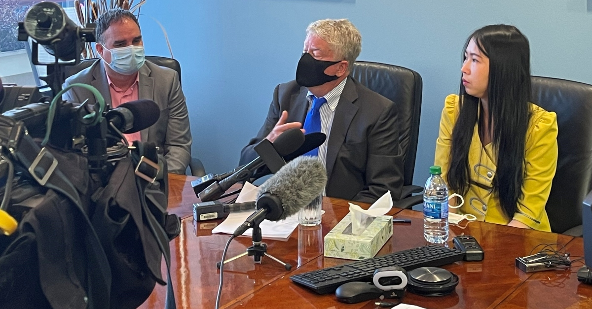 From Left: Bill Healy, Attorney Jeff Campiche, and Thi Pham