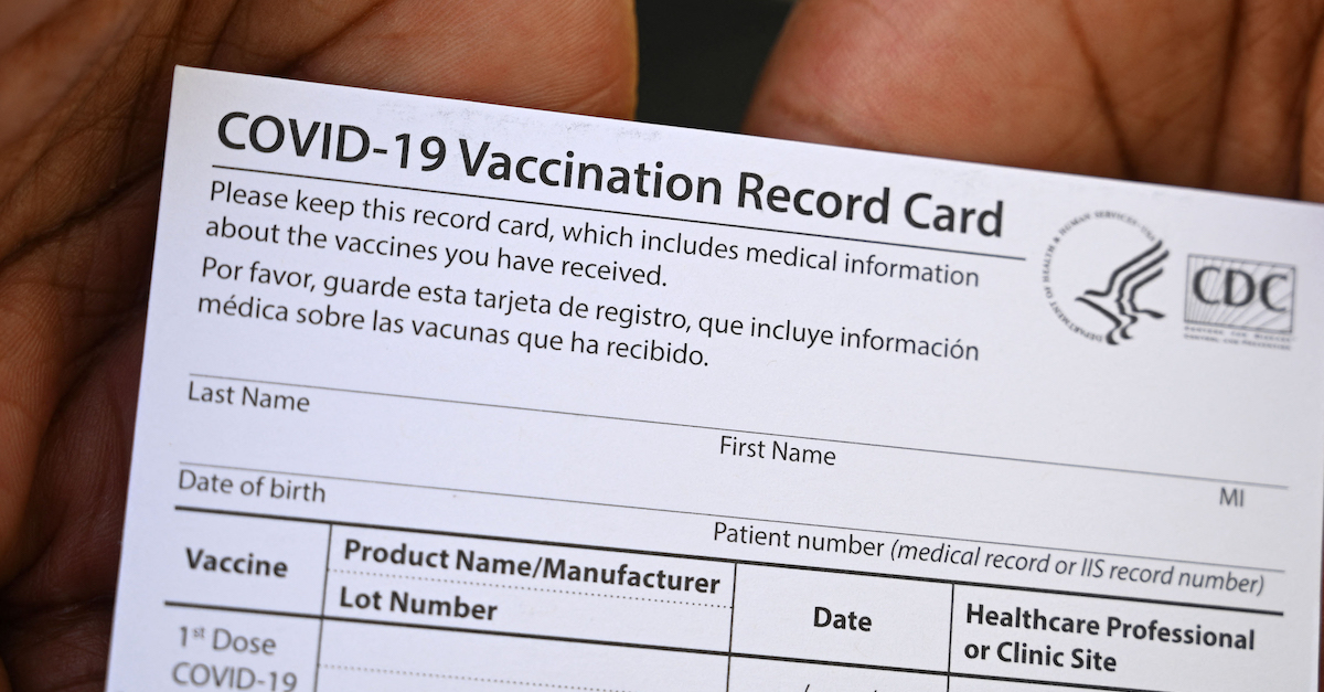 A CDC vaccination card, the kind Tangtang Zhao is accused of selling