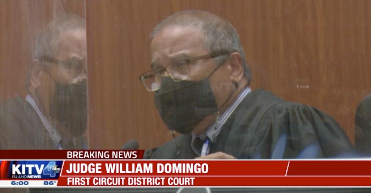 Judge William Domingo announces his ruling in a KITV screengrab.