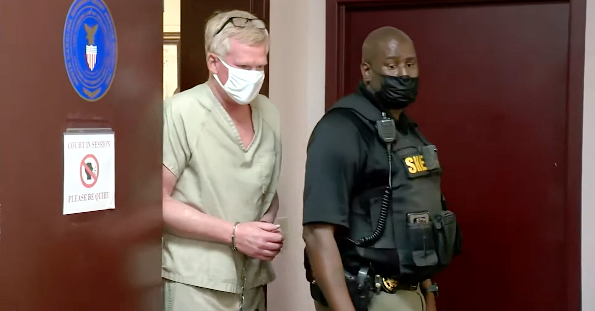 Alex Murdaugh enters court for a bond hearing on the afternoon of Sept. 16, 2021. (Image via screengrab from WLTX-TV/YouTube.)