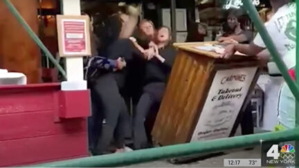 A brawl outside Carmine's Restaurant in New York City was captured on cell phone video obtained by WNBC-TV. Kaeita Nkeenge Rankin, Tyonnie Keshay Rankin, and Sally Rechelle Lewis of Texas are charged in connection with the incident.