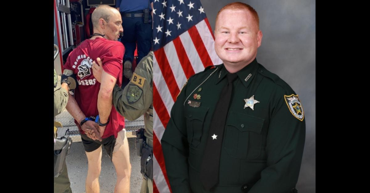 Patrick McDowell in handcuffs next to portrait of Deputy Josh Moyers