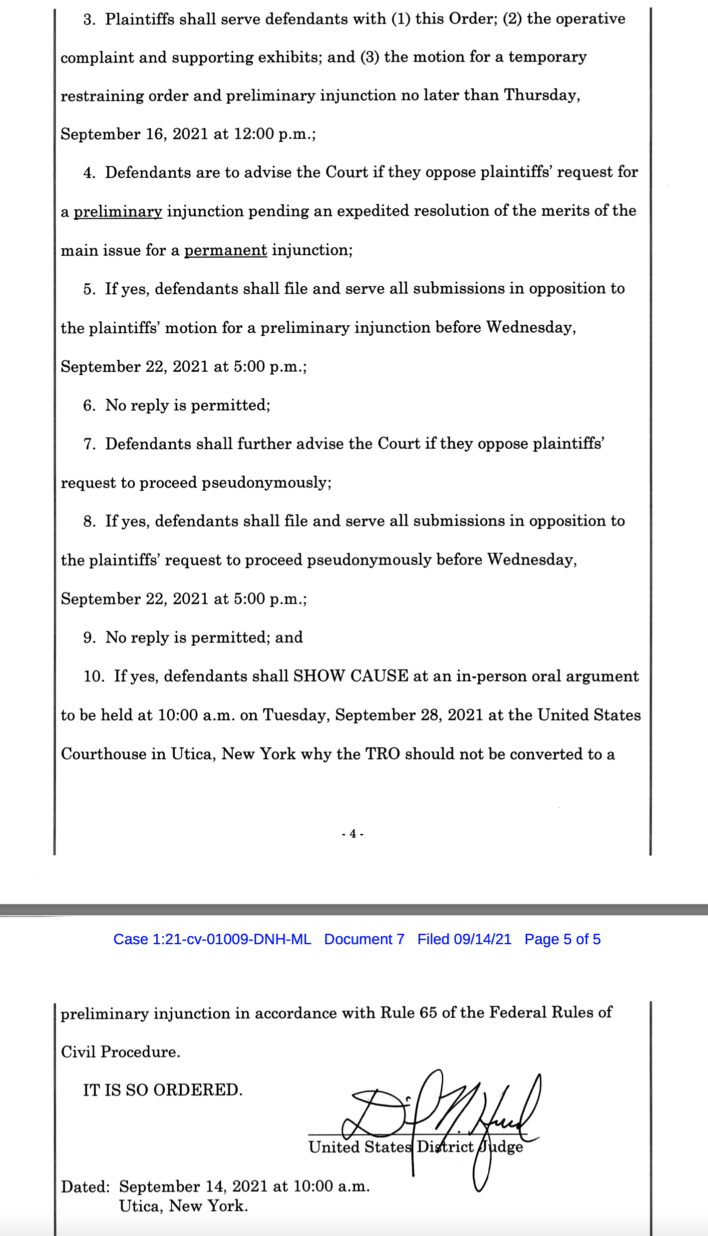 Image of temporary restraining order text