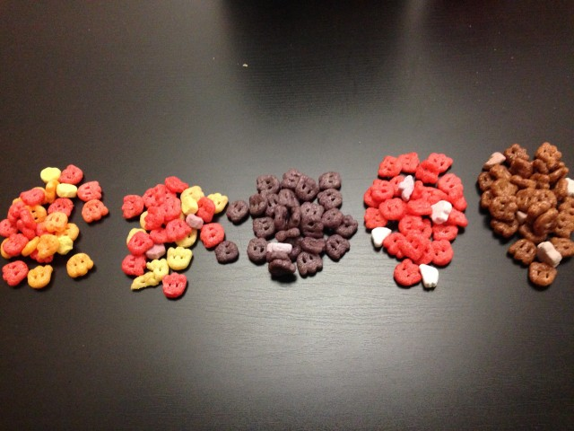 Left to Right: Yummy Mummy, or Frute Brute? Boo Berry, Franken Berry, Count Chocula