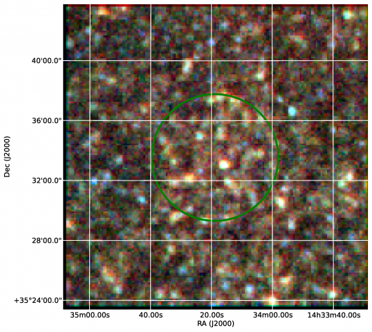 Three (false) color Herschel images of the clumps identified by Planck. Blue, green and red represent infrared light at successively longer wavelengths, of 250μm, 350μm and 500μm respectively. The green circle indicates the size of the Planck beam at the position of the source, which Herschel was able to resolve in far greater detail. Credit: D. Clements / ESA / NASA.