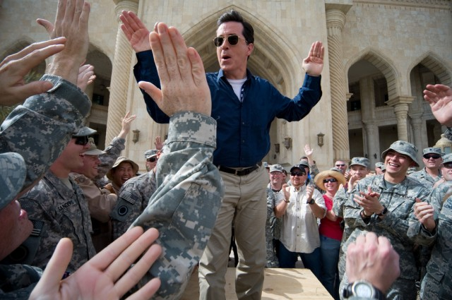 Stephen Colbert arrives at Al Faw Palace at Camp Victory, in Baghdad Iraq on June 5th 2009 and greets soldiers and civilians.