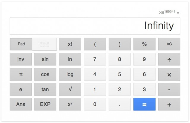 Google Calculator Infinity