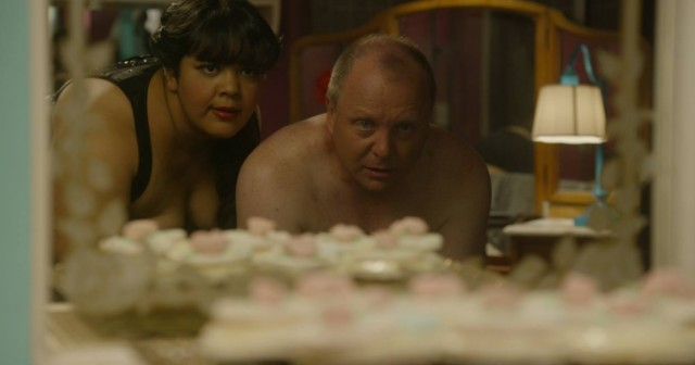Me as Cupcake Dominatrix and Clem Jeffreys as a client in the opening scene of Incredible Girl.