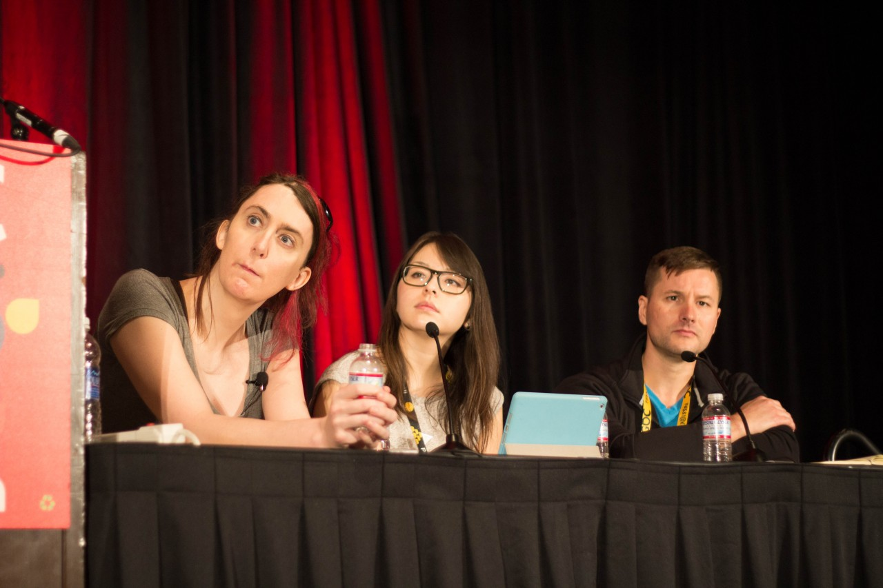 Brianna Wu, Mariel Cartwright, and Jonathan Cooper at an animation bootcamp on how women are not too hard to animate.