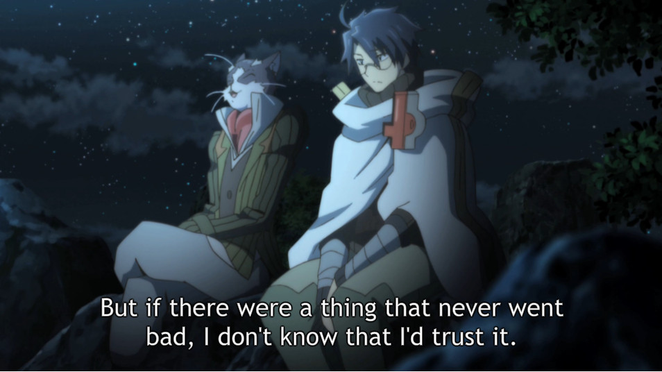 """In Log Horizon episode 6, Nyanta (left) explains to Shiroe (right) that no life is perfect. He goes on to say """"Any kind of life can go wrong, or sicken, or suffer."""" [NHKEnterprise, retrieved from Crunchyroll]"""