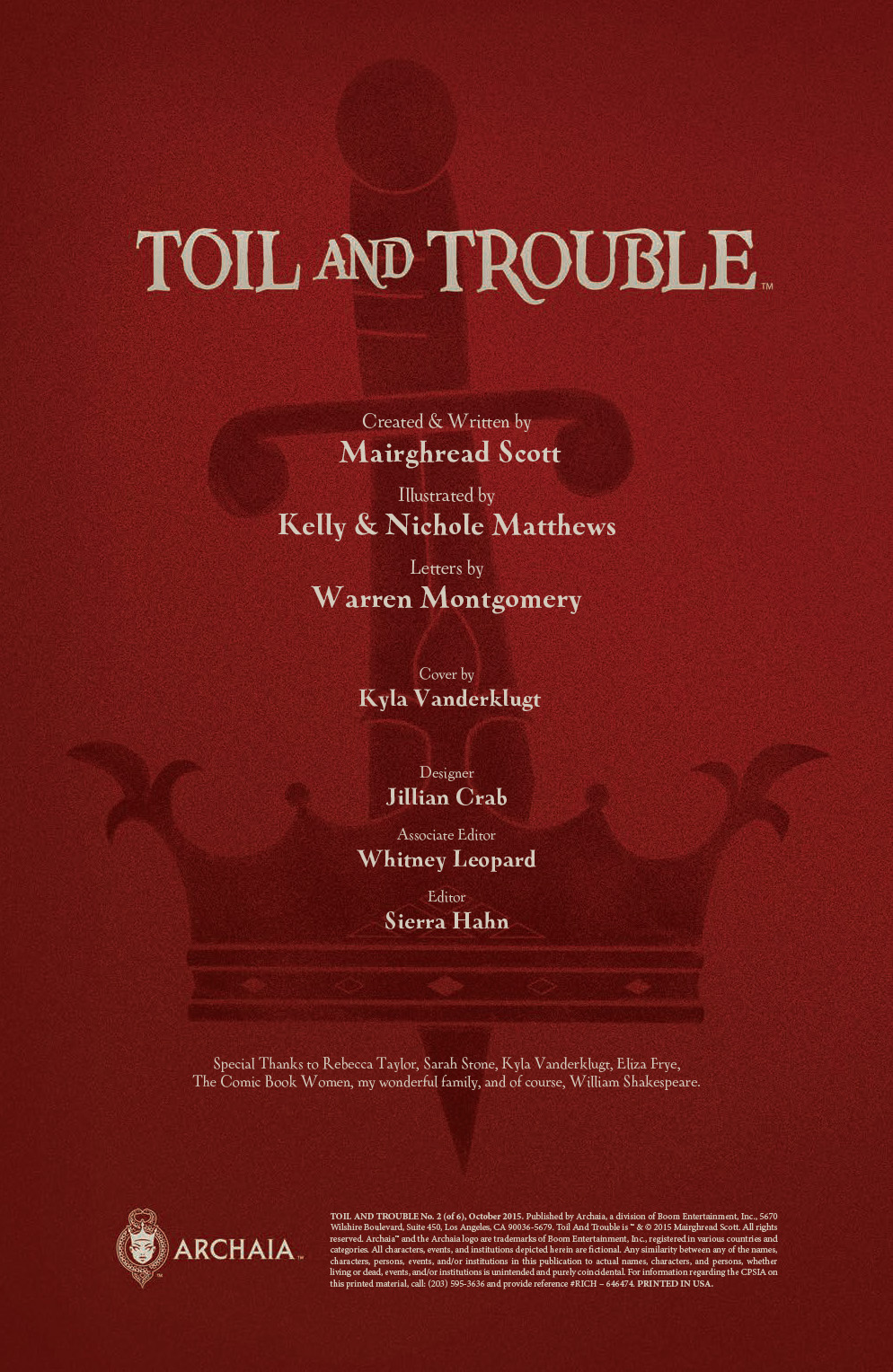 Toil and Trouble Issue 2 Credits