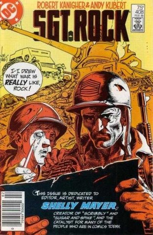In an interesting twist of fate, Sheldon Mayer was the artist for SUGAR AND SPIKE, one of the few titles to catch a younger Andy's eye. Cover by Joe Kubert, image from Comics Vine.