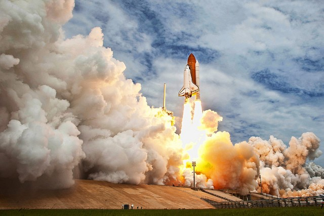 Space shuttle Atlantis is seen as it launches from pad 39A on Friday, July 8, 2011, at NASA's Kennedy Space Center in Cape Canaveral, Fla. The launch of Atlantis, STS-135, is the final flight of the shuttle program, a 12-day mission to the International Space Station.