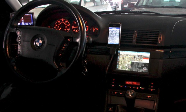 car dashboard with computer system