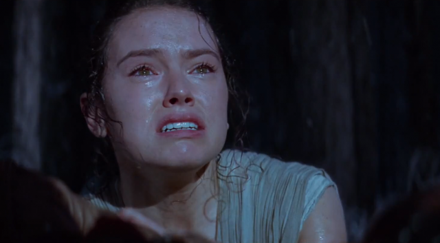 Rey crying in The Force Awakens.