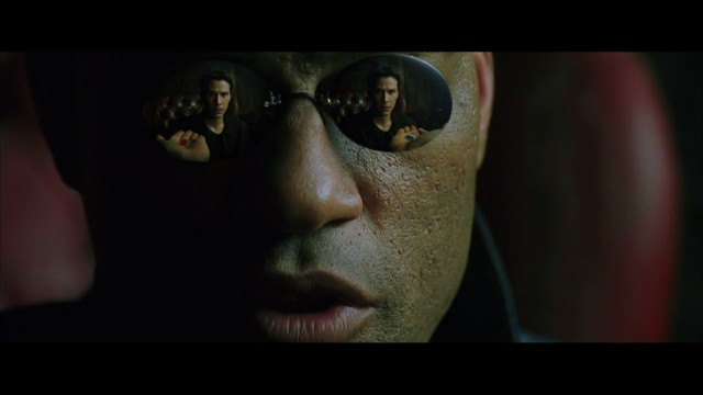 Morpheus offers Neo the red pill and blue pill