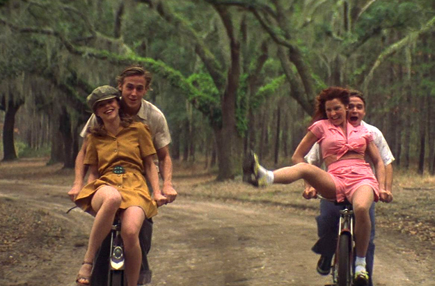 people ride bikes together in the notebook because romance