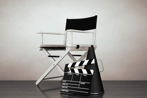 director's chair, clapboard, and megaphone