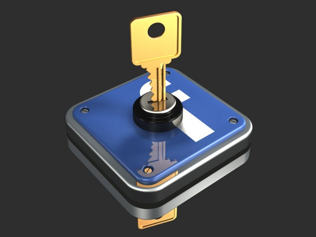 3d illustration of a large brass key inserted into a metallic Facebook logo on a dark gray reflective surface