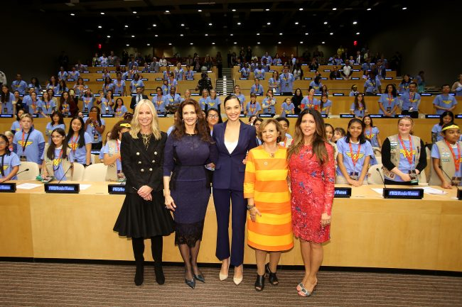 (from L to R) DC Entertainment President Diane Nelson; Lynda Carter, Gal Gadot,, UN Under Secretary-General Cristina Gallach; and Patty Jenkins