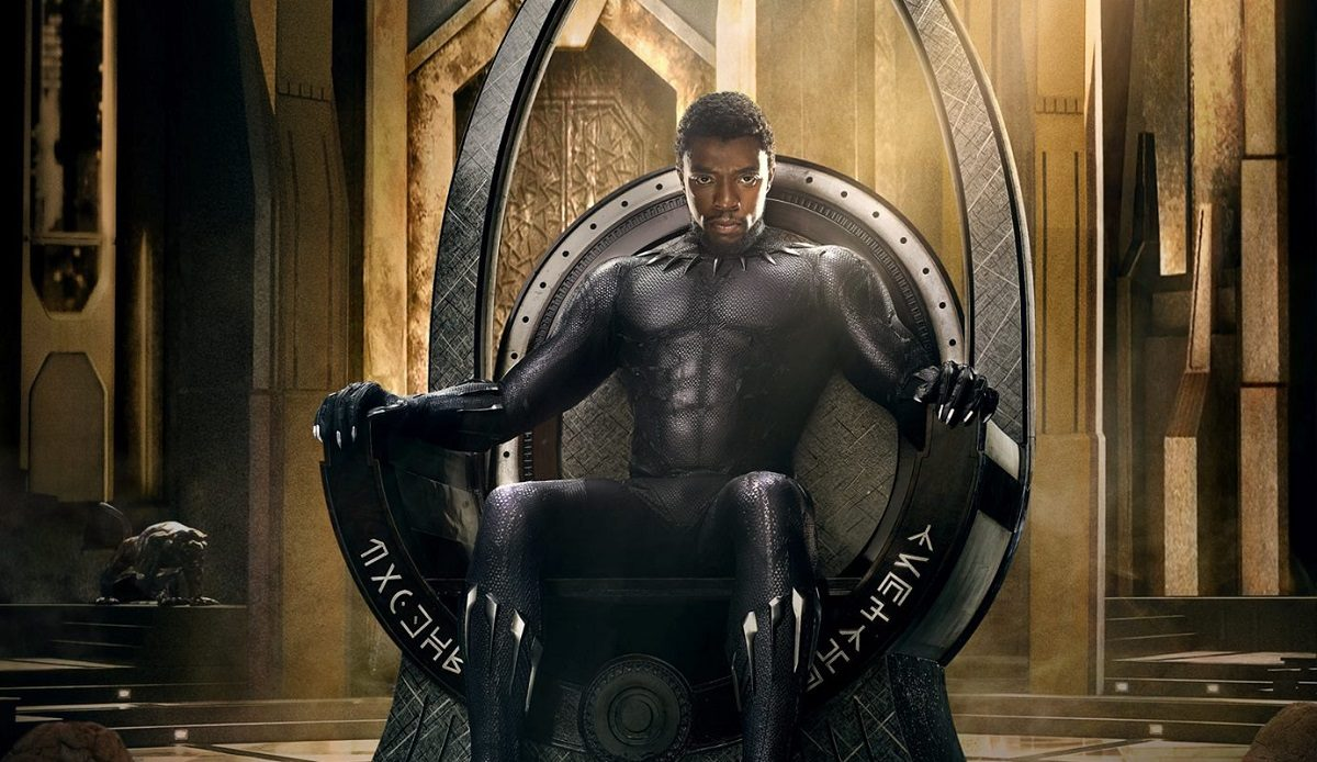 """Cropped image of Chadwick Boseman as T'Challa on one of Marvel's """"Black Panther"""" posters"""