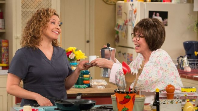 "image: Netflix Justina Machado as Penelope and Rita Moreno as Lydia on Netflix's ""One Day at a Time"""